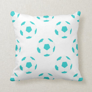 Light Blue and White Soccer Ball Pattern Throw Pillow