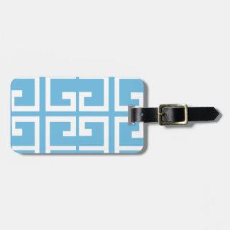 Light Blue and White Tile Bag Tag