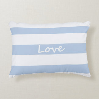 Light Blue and White with Love Text Pillow
