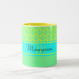 Light Blue and Yellow Monogram Two-Tone Coffee Mug