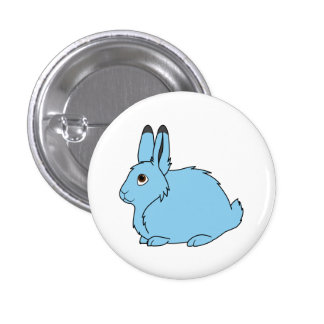 Light Blue Arctic Hare 1 Inch Round Button