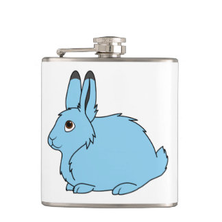 Light Blue Arctic Hare Hip Flask