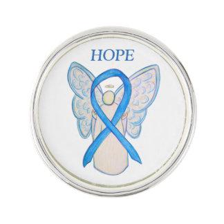Light Blue Awareness Ribbon Angel Custom Lapel Pin