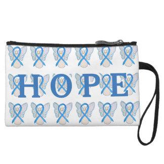 Light Blue Awareness Ribbon Art Hope Clutch Purse Wristlet Clutch