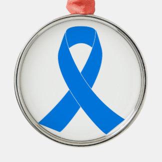 Light Blue Awareness Ribbon Metal Ornament