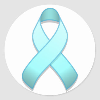 Light Blue Awareness Ribbon Round Sticker
