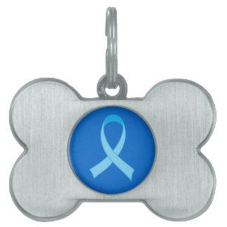 Light Blue Awareness Ribbon Support Pet Tag