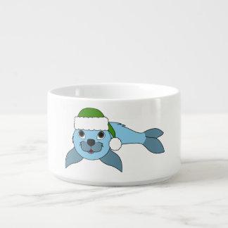 Light Blue Baby Seal with Green Santa Hat Chili Bowl