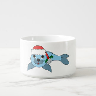 Light Blue Baby Seal with Santa Hat & Silver Bell Chili Bowl