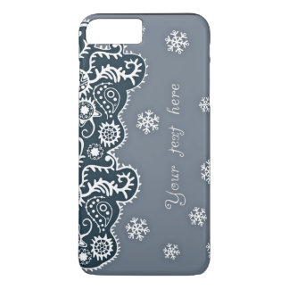 Light Blue Background With Snowflakes Text Inserti iPhone 7 Plus Case