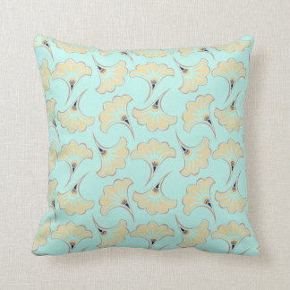 LIGHT BLUE & BEIGE FAN PATTERN THROW PILLOW