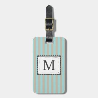 Light Blue & Beige Stripes Custom Monogram Luggage Tag
