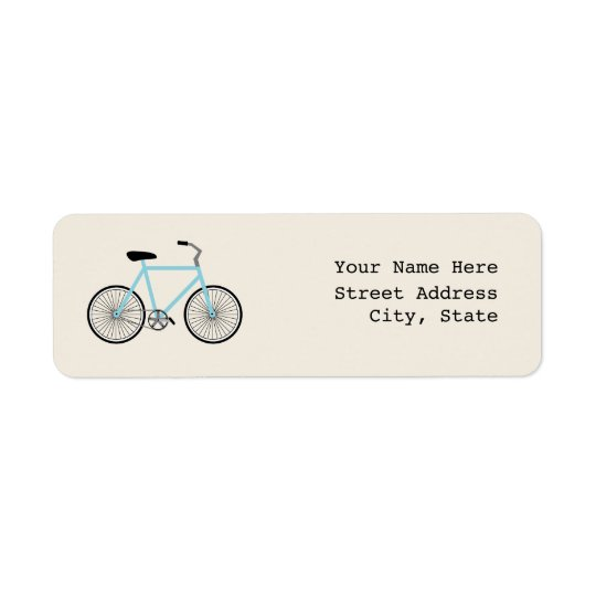 Light Blue Bicycle Address Label