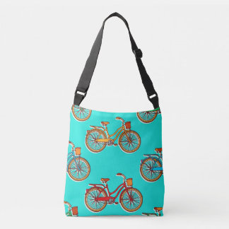 Light Blue Bicycle Cross Body Tote Bag