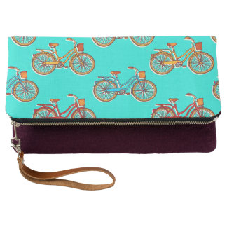Light Blue Bicycle Fold-over Clutch