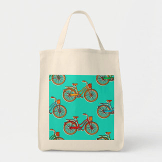 Light Blue Bicycle Grocery Tote Bag