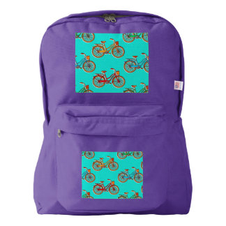 Light Blue Bicycle Purple American Backpack