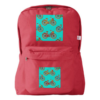 Light Blue Bicycle Red American Backpack