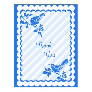 Light Blue Birds With Diagonal Stripes Thank You Postcard