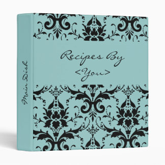 Light Blue & Black Damask Recipe Cook Book Binder