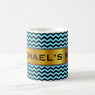 Light Blue & Black Wave Pattern + Custom Name Mug