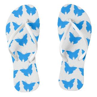 Light Blue Bold Mod Butterflies Flip Flops