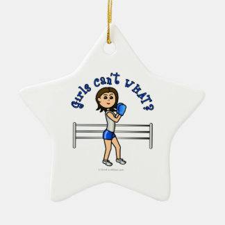Light Blue Boxer Ceramic Star Ornament