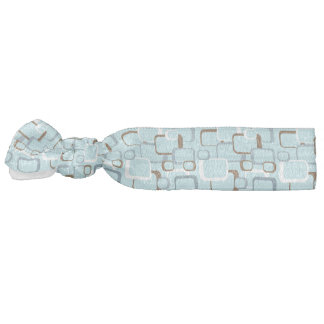 Light Blue Brown White Retro Squares Hair Tie