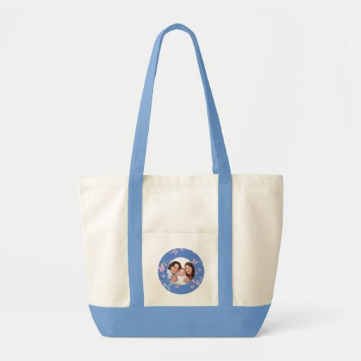 Light Blue Butterfly Family photo Canvas Bag