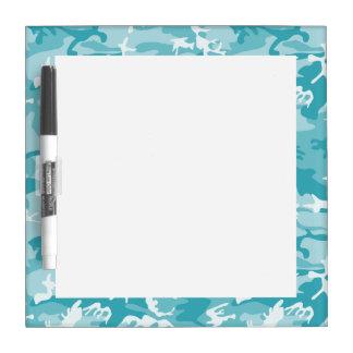 Light Blue Camo Pattern Dry Erase White Board
