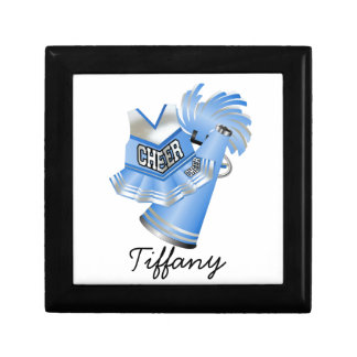 Light Blue Cheerleader Tile Box Keepsake Box