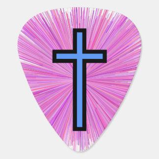 Light Blue Christian Cross & Line Burst Pattern Guitar Pick