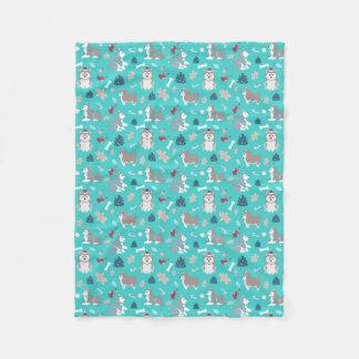 Light Blue Christmas Husky Dog Blanket