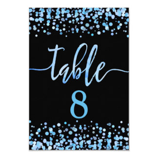Light Blue Confetti Table Number Seating Chart Card