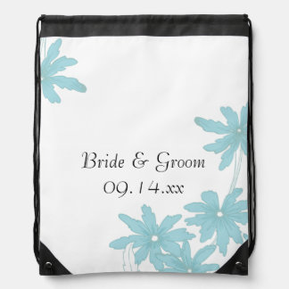 Light Blue Daisies Wedding Drawstring Bag