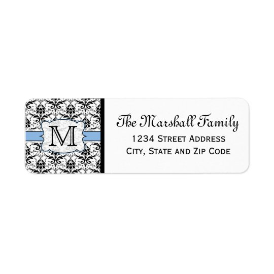 Light Blue Damask Monogram Return Address Labels