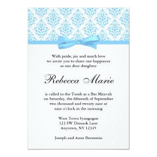 "Light Blue Damask Ribbon Bow Bat Mitzvah 5"" X 7"" Invitation Card"