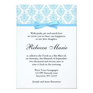 Light Blue Damask Ribbon Bow Bat Mitzvah Card