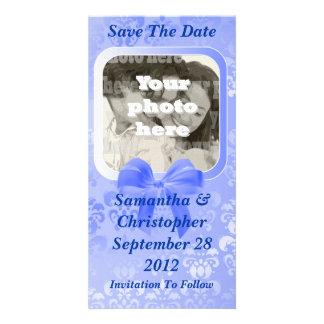 Light blue damask save the date wedding photo cards