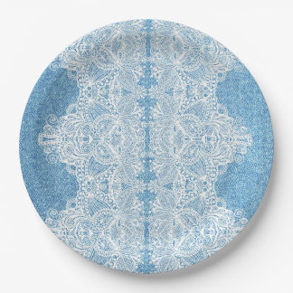 Light Blue Denim and Lace Paper Plate 9 Inch Paper Plate