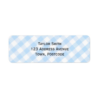 Light blue diagonal gingham pattern return address label