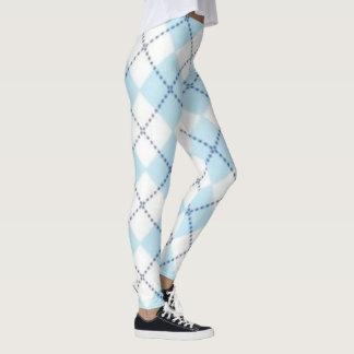 Light Blue Diamond Plaid Leggings