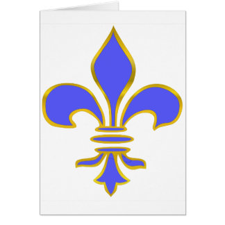 Light blue fleur de lis - Greeting Card