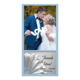 Light Blue Floral Highlights Wedding Thank You Photo Greeting Card