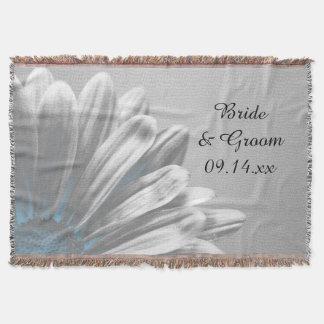 Light Blue Floral Highlights Wedding Throw Blanket