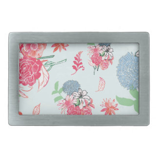 Light Blue Floral Pattern Design Belt Buckles