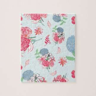 Light Blue Floral Pattern Design Jigsaw Puzzle