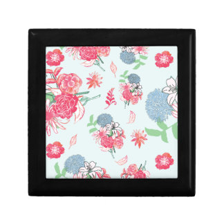 Light Blue Floral Pattern Design Keepsake Box