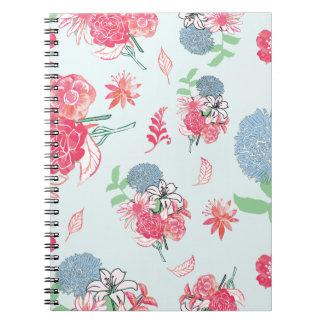 Light Blue Floral Pattern Design Notebooks