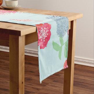 Light Blue Floral Pattern Design Short Table Runner